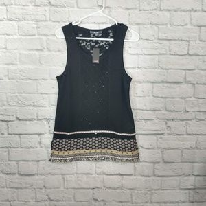 Miss Me | Black Tank with Sequins & Tapestry Edge